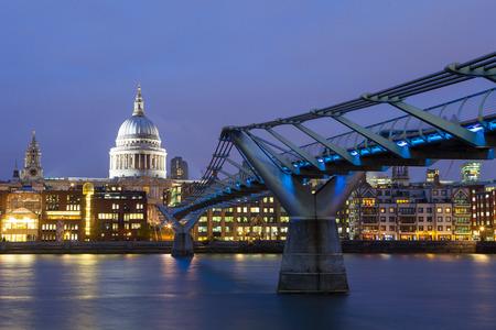 Millennium bridge and St. Pauls cathedral, London England, UK