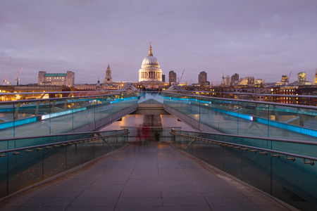 Millennium bridge and St. Pauls cathedral, London England, UK