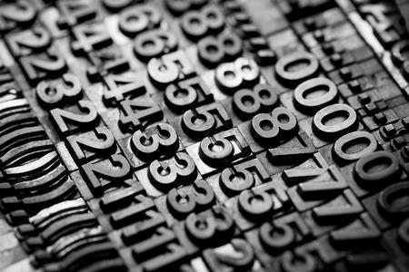 monotype: vintage letterpress alphabet and number background