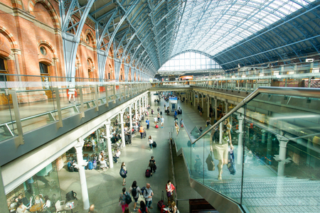 LONDON,ENGLAND - JULY 05, 2015: St Pancras Station international train station in London, this station is the main for Eurostar train to the European countries.