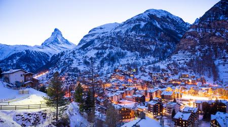 ski resort: ski resort in zermatt, switzerland