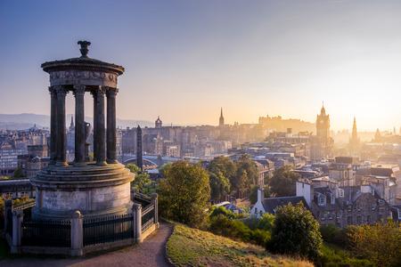 castle: Edinburgh city in winter from Calton hill, Scotland, UK Editorial