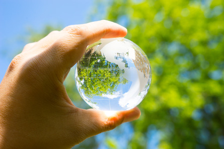 Green & Eco environment, glass globe in the garden 스톡 콘텐츠
