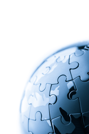 globe puzzle: Global strategy  & solution business concept, jigsaw puzzle