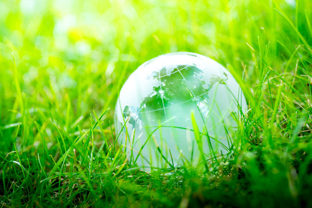 Green & Eco environment, glass globe in the garden Archivio Fotografico
