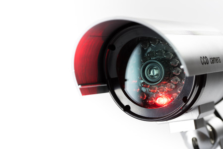 privacidad: Cámaras de seguridad CCTV en edificio de oficinas