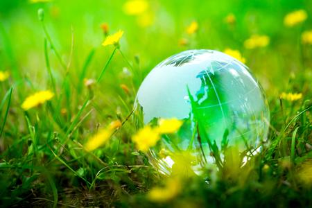 eco green: Green & Eco environment, glass globe in the garden Stock Photo