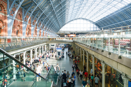 eurostar: LONDON,ENGLAND - JULY 05, 2015: St Pancras Station international train station in London, this station is the main for Eurostar train to the European countries.