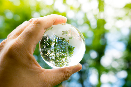 with copy space: Green & Eco environment, glass globe in the garden Stock Photo