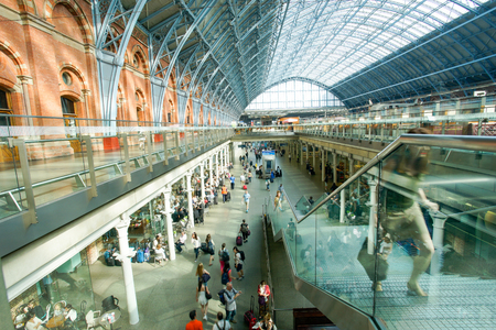 pancras: LONDON,ENGLAND - JULY 05, 2015: St Pancras Station international train station in London, this station is the main for Eurostar train to the European countries.