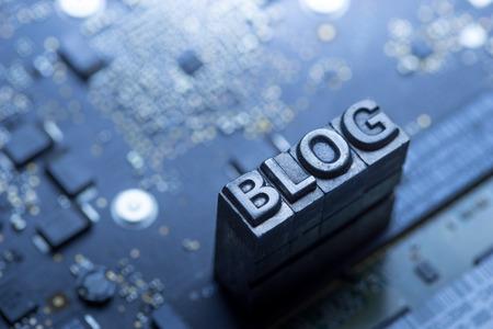 Social media & Blog pictogram van boekdruk Stockfoto