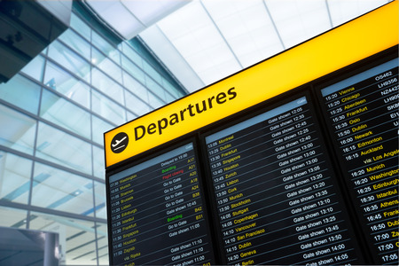 departure board: Flight information, arrival, departure at the airport, London, England