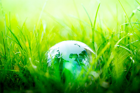 natural world: Green & Eco environment, glass globe in the garden Stock Photo
