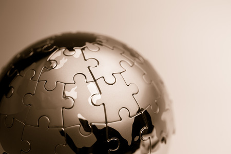 business puzzle: Global strategy  & solution business concept, jigsaw puzzle