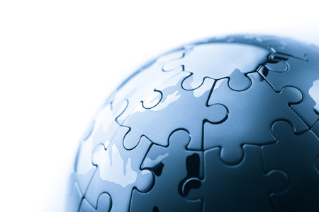 finishing: Global strategy  & solution business concept, jigsaw puzzle