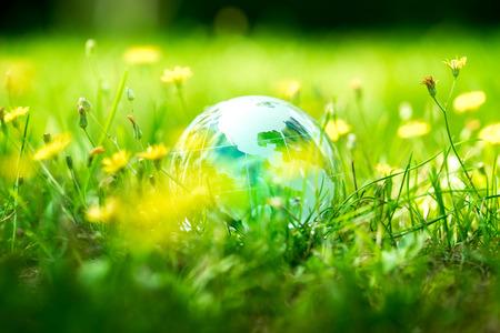 Green & Eco environment, glass globe in the garden Archivio Fotografico