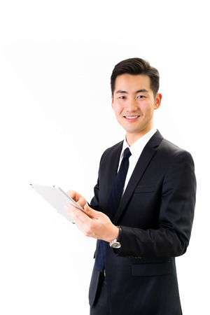 Young Asian businessman white background