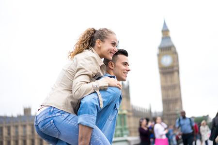 london big ben: Tourist Couple taking selfie at Big Ben, London