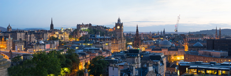 scot: Panorama of Edinburgh city from Calton Hill, Scotland, uk,