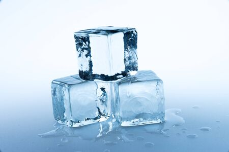 refrigerate: ice cubes on white background