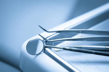 Set of metal Dentist's medical equipment tools