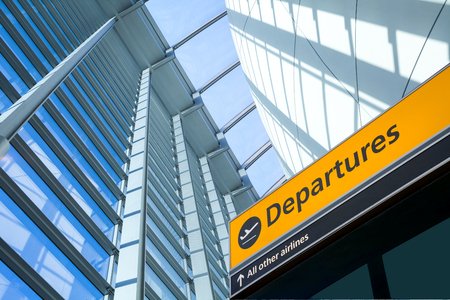 departure: Airport Departure & Arrival information sign Stock Photo