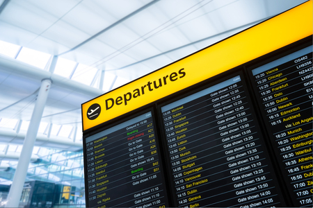 airport terminal: Flight information, arrival, departure at the airport, London, England