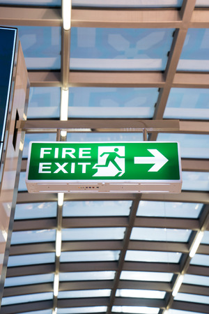 exit sign: Fire exit sign at the airport