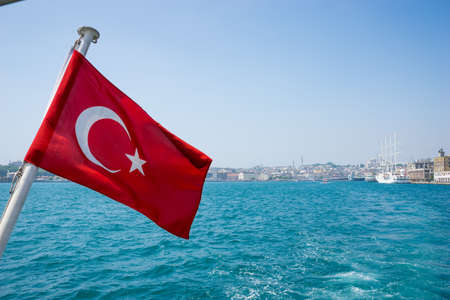 turkish ethnicity: TURKEY, Turkish Flag on ship, city tour Stock Photo