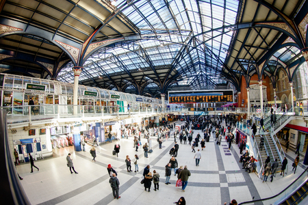 LONDON, UNITED KINGDOM - JANUARY 17 2016: Liverpool Street Station in London on weekend, one of the busiest station in London, United Kingdom.
