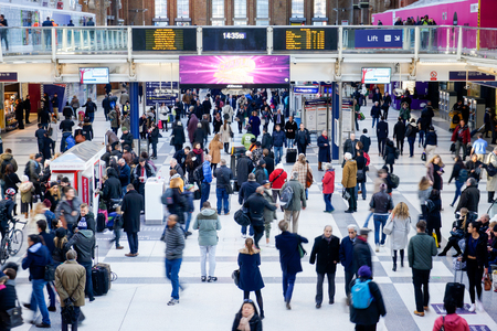 crowds of people: LONDON, UNITED KINGDOM - JANUARY 17 2016: Liverpool Street Station in London on weekend, one of the busiest station in London, United Kingdom.