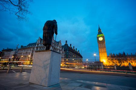 churchill: Big Ben and statue of Sir Winston Churchill, London, England
