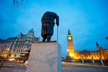 winston: Big Ben and statue of Sir Winston Churchill, London, England
