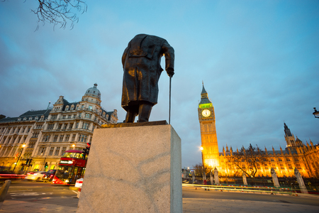 winston: Big Ben and statue of Sir Winston Churchill, London, England