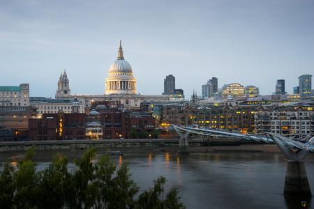 millennium bridge: Millennium bridge and St. Paul, London, UK Stock Photo