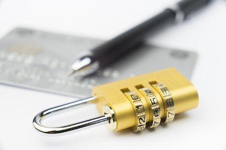 bank protection: Credit Card machine payment security with key lock & padlock