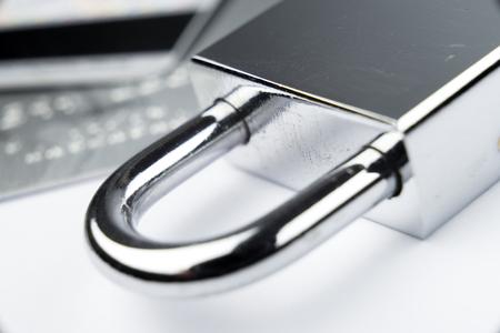 key lock: Credit Card machine payment security with key lock & padlock