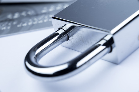 technology security: Credit Card machine payment security with key lock & padlock