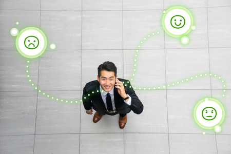 Asian young & success businessman from top view, high angle Stock Photo