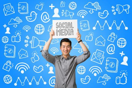 businessman present: Young businessman present social media communication concept