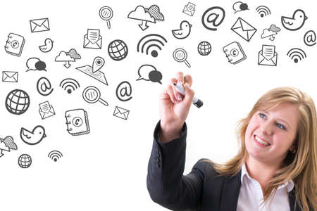 internet icon: Young businesswoman drawing social media & Internet icon concept