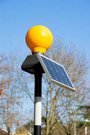 photoelectric: Traffic light from solar cell panel