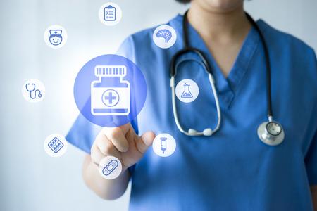 dental health: Medicine doctor & nurse working with medical icons