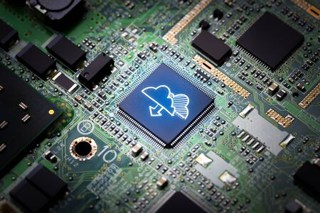mainboard: Cloud storage & security concept on computer mainboard Stock Photo