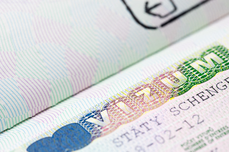 schengen: Close up of schengen visa Stock Photo