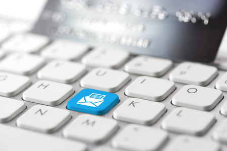 online purchase: Credit card payment for online shopping Stock Photo