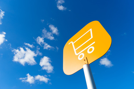 online shopping cart: Online shopping cart icon for e-commerce concept Stock Photo