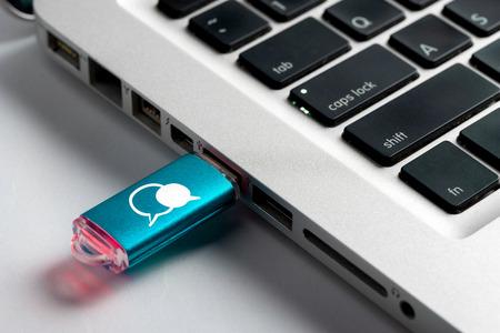 usb drive: Social media, WIFI & Internet icon on  USB drive