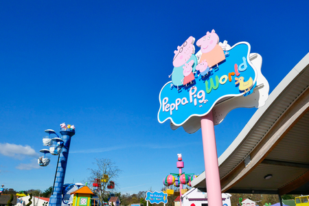 SOUTHAMPTON, ENGLAND, 14 MARCH 2017: The Peppa Pig World is in Paultons Park located in Romsey, Hampshire, England. This park has around 70 attractions and rides. Editorial