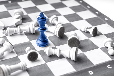 chess board: Chess business concept, leader & success from top view